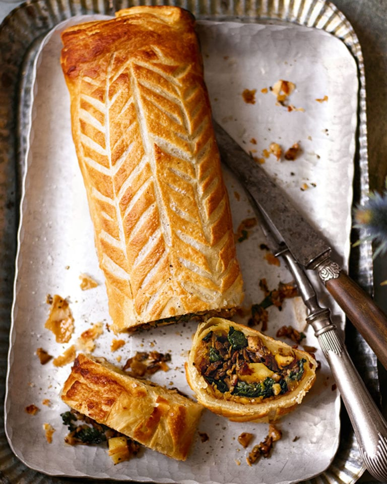 Parsnip and porcini wellington