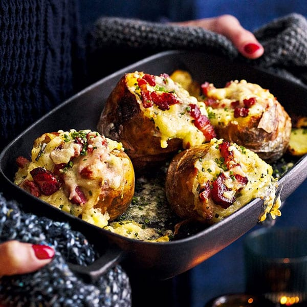 2. Baked potatoes stuffed with bacon, cheese and chives