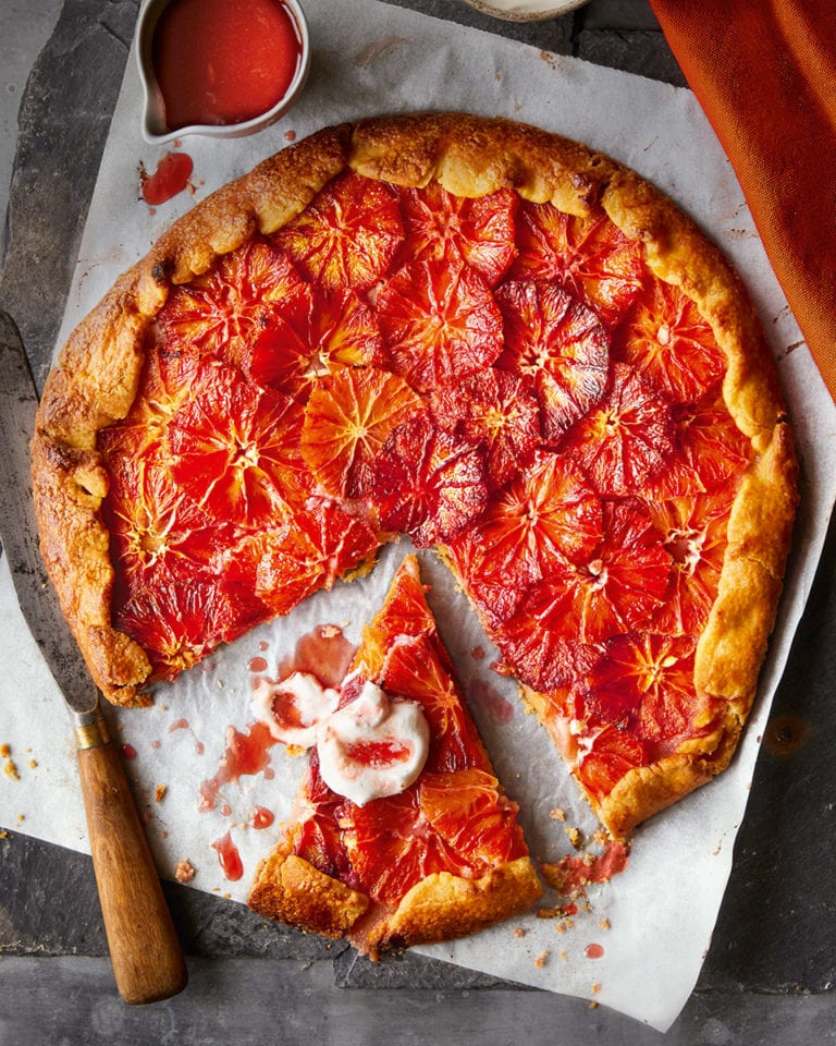 Blood orange tart with cardamom cream