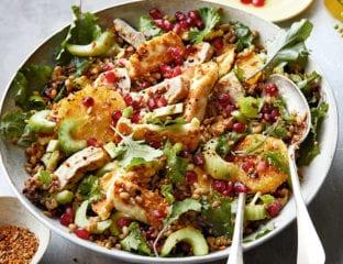 Citrus, chicken and halloumi salad