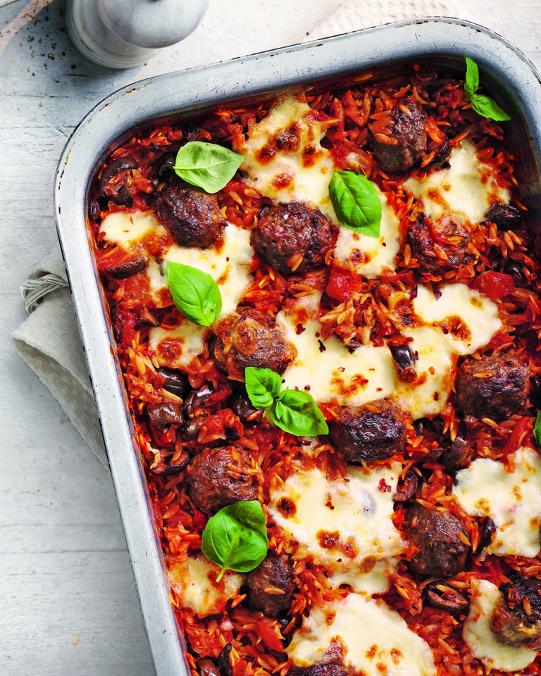 Italian baked meatballs and orzo