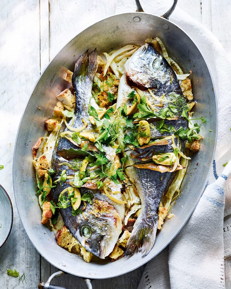 Roast sea bream with fennel, sourdough and preserved lemons