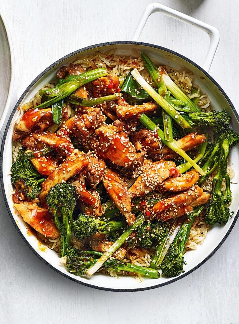 Sticky sriracha chicken rice with charred veg