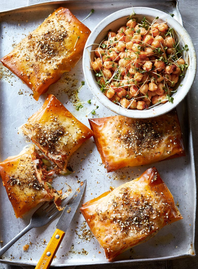 Sweet potato and chorizo filo pies