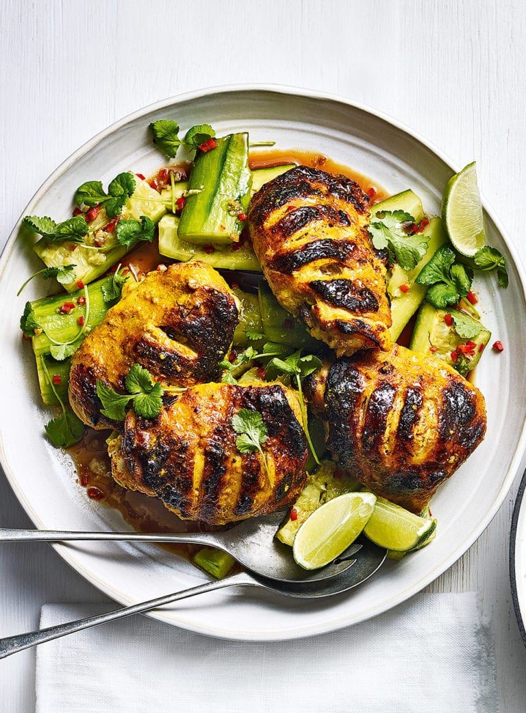 Grilled turmeric chicken with cucumber salad