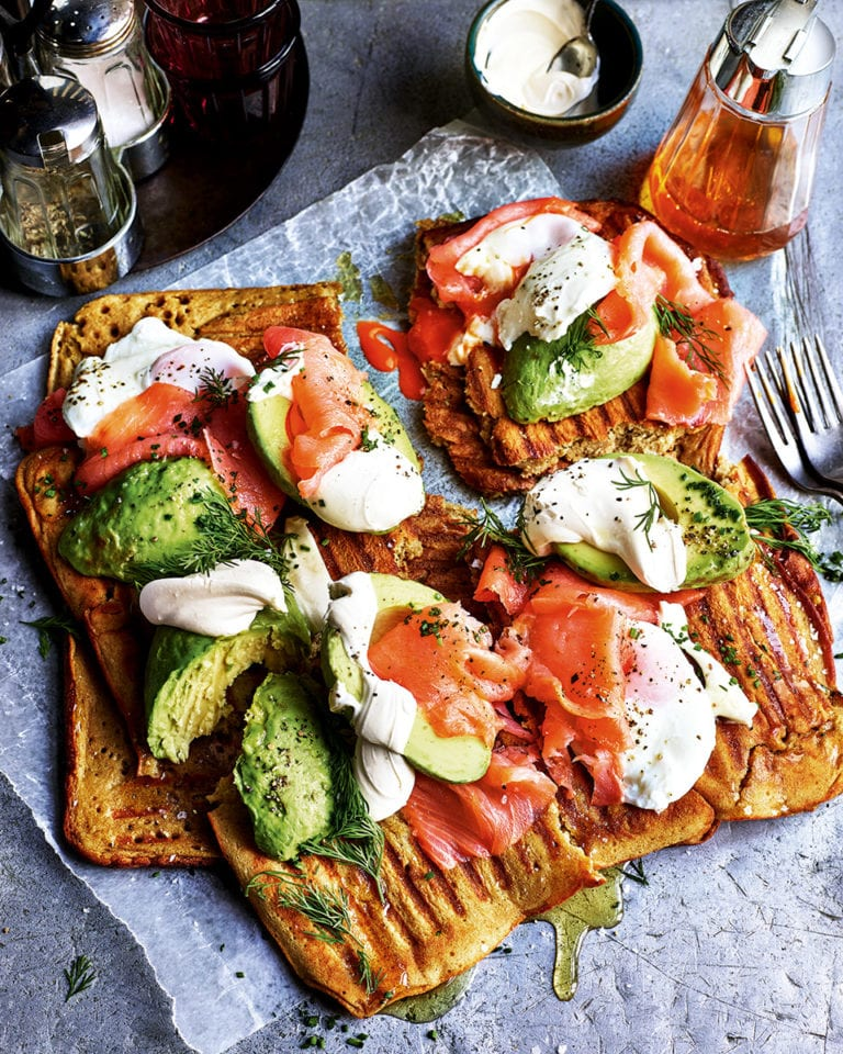 Savoury waffles with smoked salmon, avocado and eggs