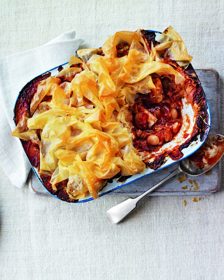 Smoky cod and butter bean filo pie