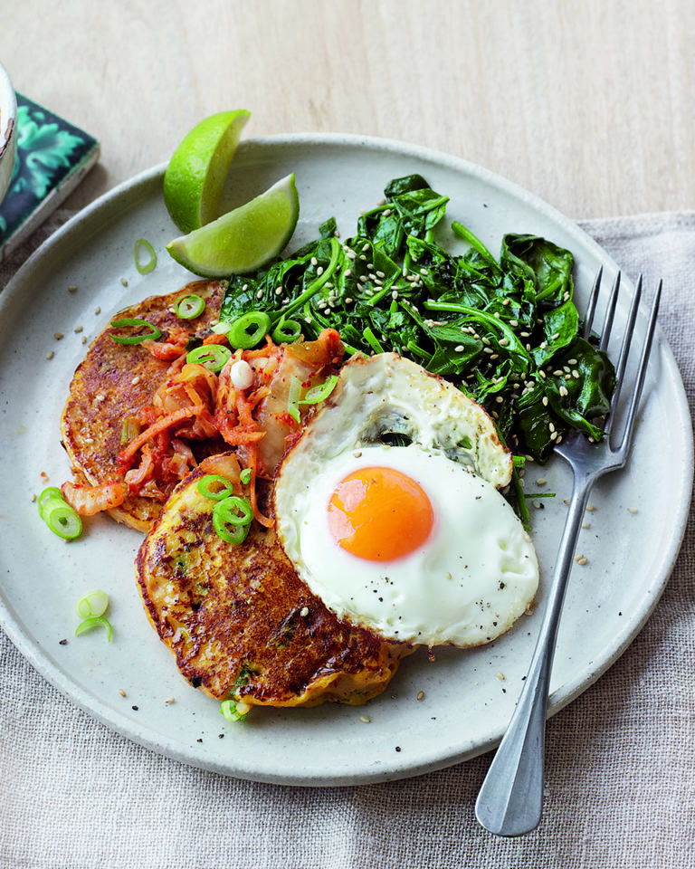 Kimchi potato pancakes with fried eggs
