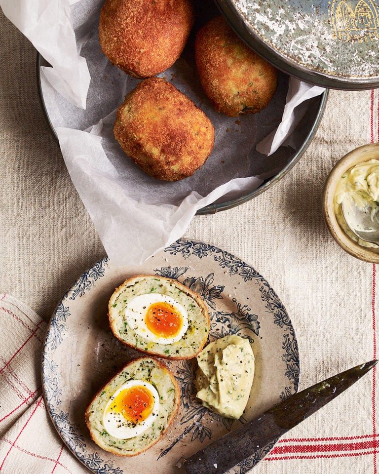 Smoked haddock scotch eggs with lemon mayo
