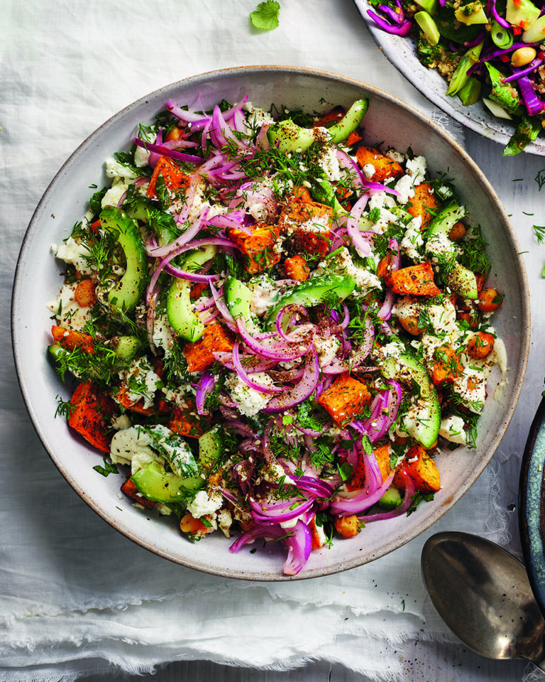 Sweet potato, chickpea and feta salad with tahini dressing