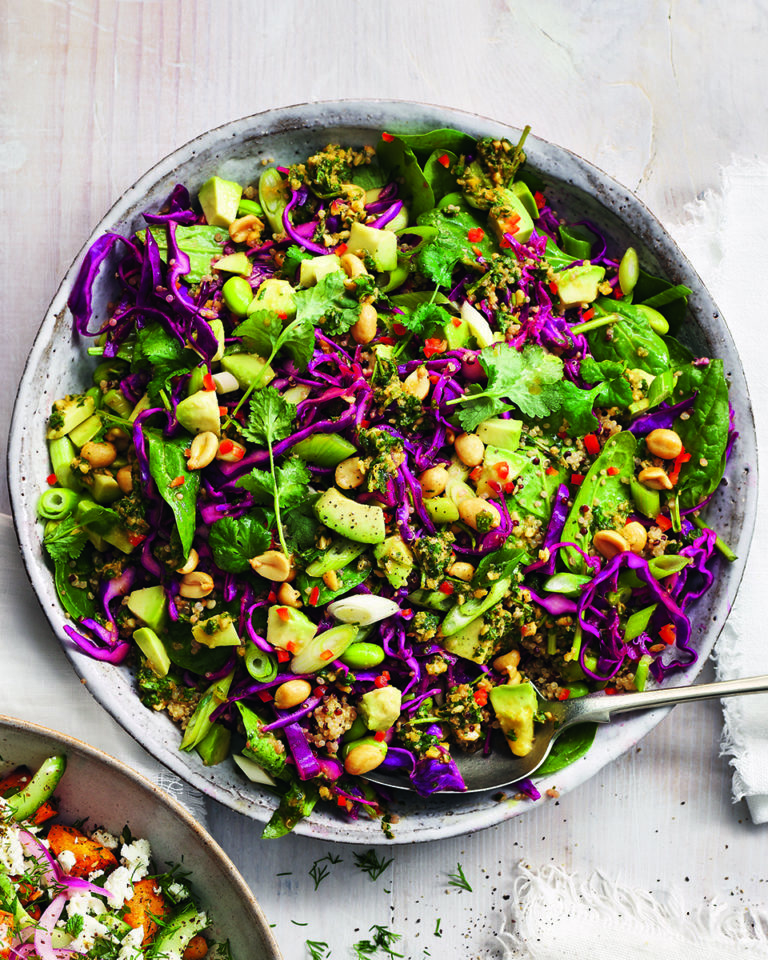 Red cabbage, quinoa and avocado salad with peanut pesto