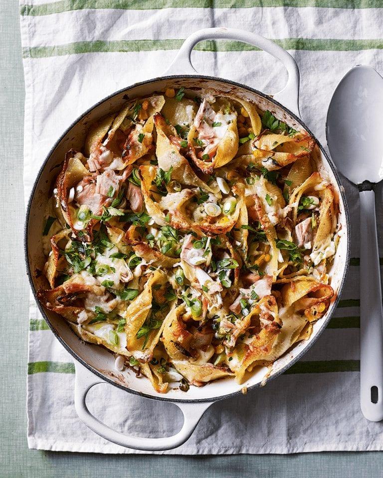 Tuna pasta shells with sweetcorn