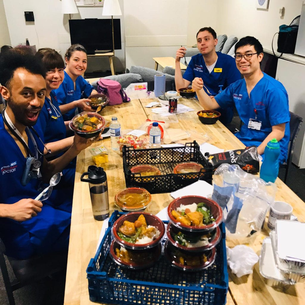 Staff at Royal London Hospital sit down to eat, thanks to Meals For The NHS