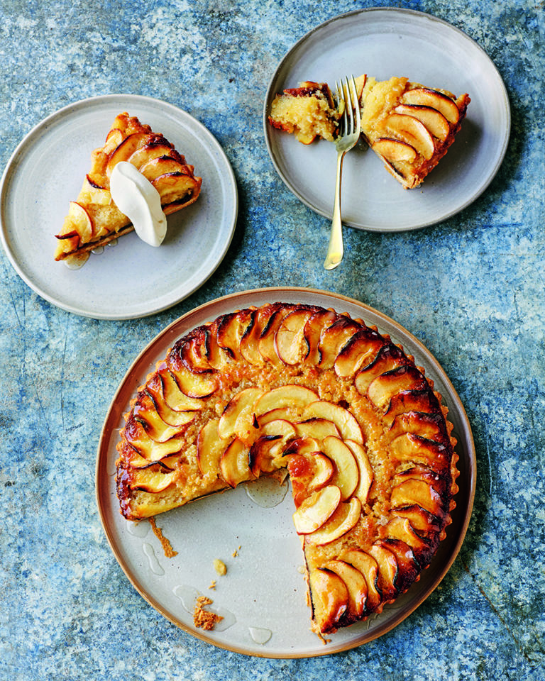 Black butter frangipane and apple tart