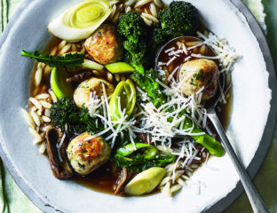 Chicken meatball and orzo broth