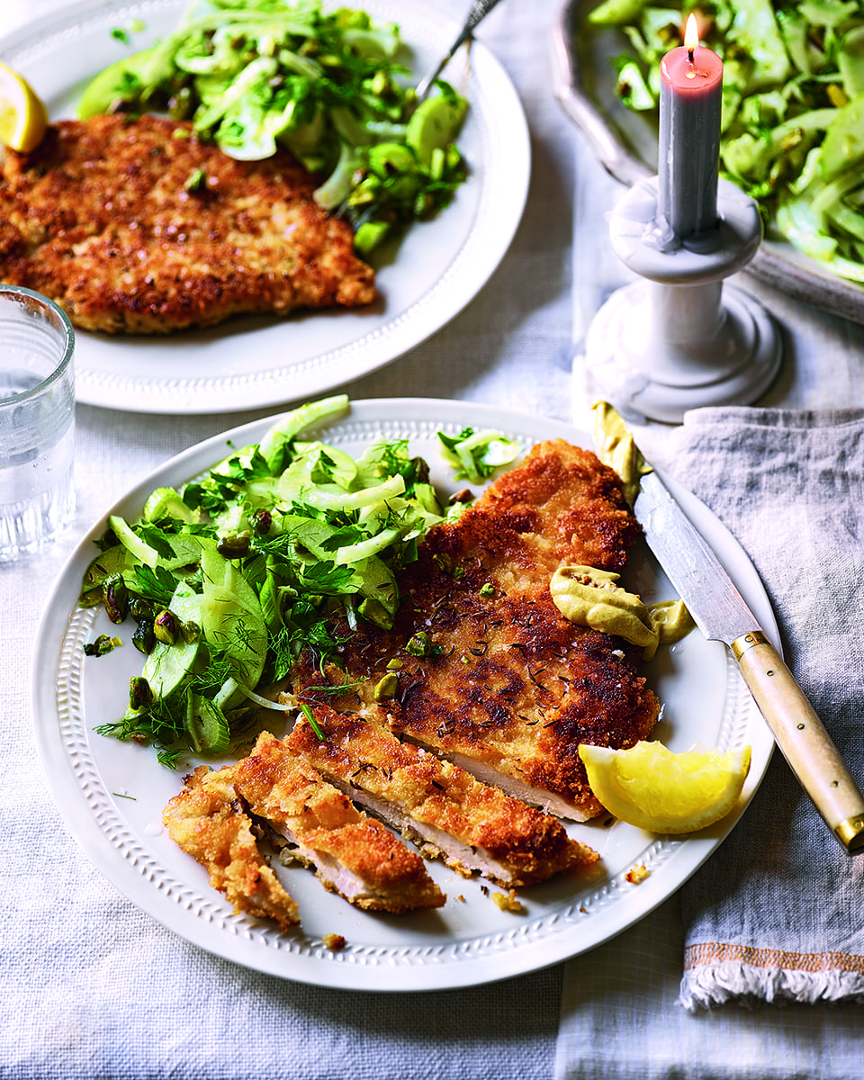 Chicken Schnitzel With Fennel And Apple Salad Delicious Magazine