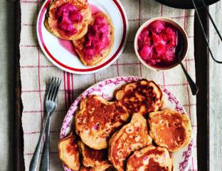 Rhubarb and rose breakfast drop scones