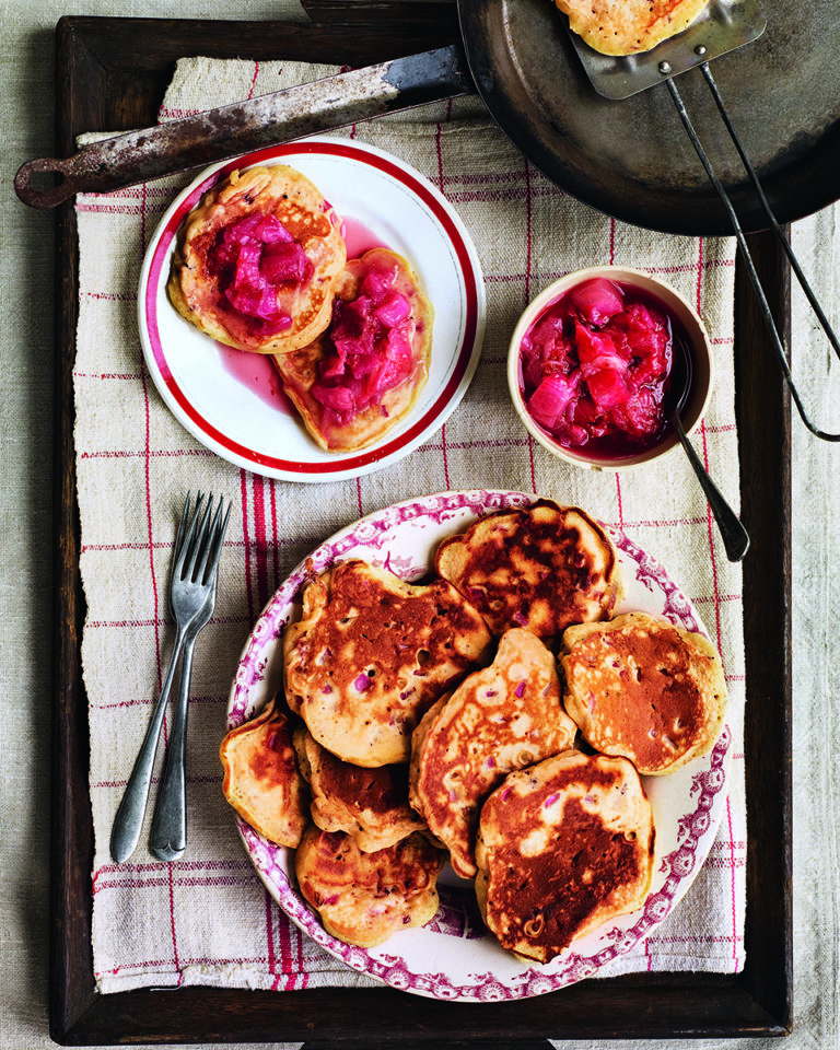 Rhubarb and rose breakfast drop scones