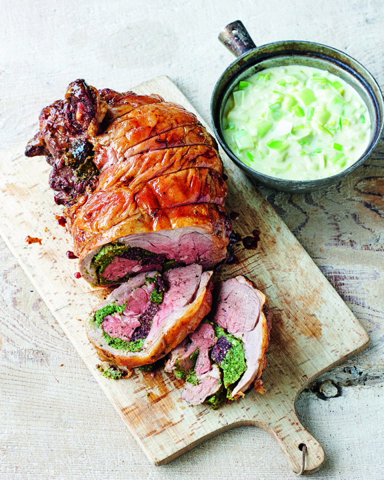 Stuffed leg of Welsh lamb with onion and leek sauce