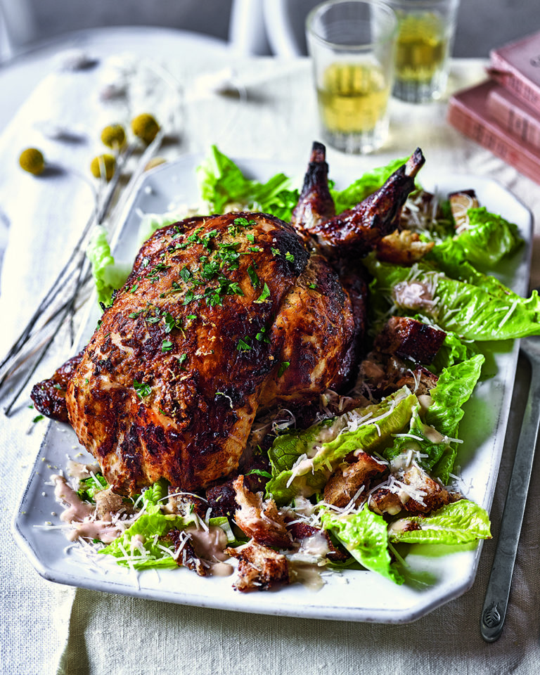 Whole-roast chicken caesar salad