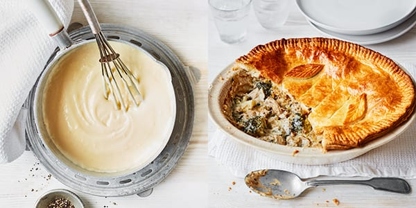 white sauce and pie