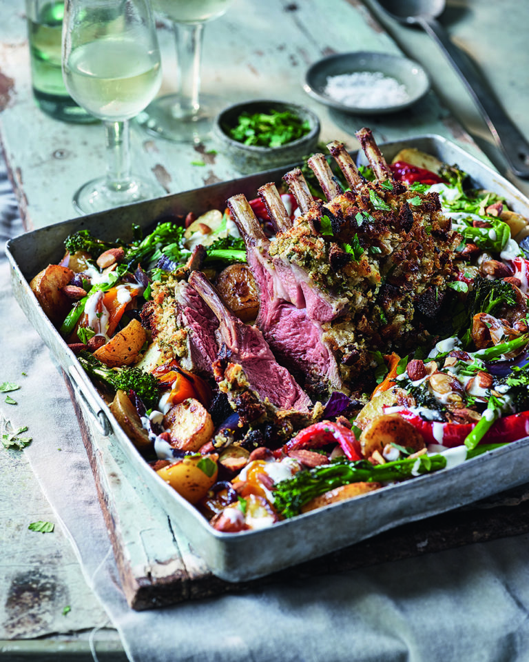 Rack of lamb, potato and pepper tray roast