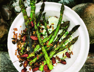 Asparagus with labneh, mint, almonds and seeds
