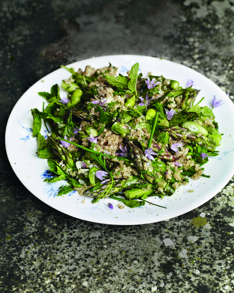 Asparagus and quinoa salad with peas and broad beans