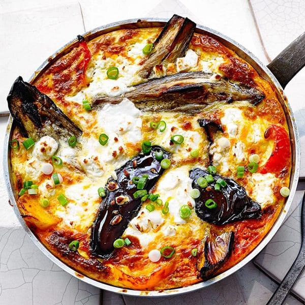 aubergine and feta frittata