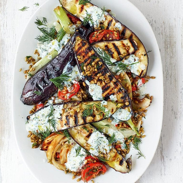 aubergine freekeh
