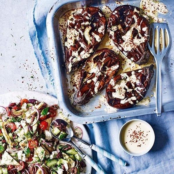 roasted-aubergine-with-salad