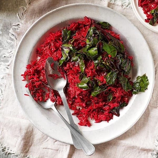 Spiced beetroot rice with lemony beetroot leaves