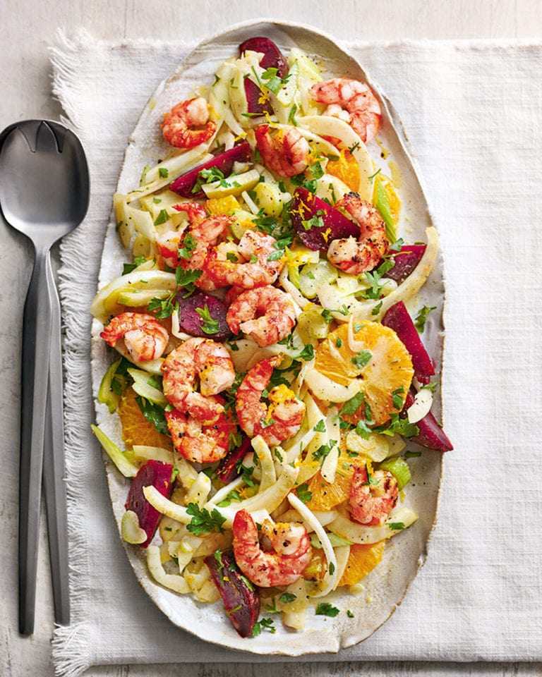Fennel, beetroot and orange salad with griddled prawns
