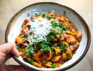 Orecchiette and chickpea tomato soup