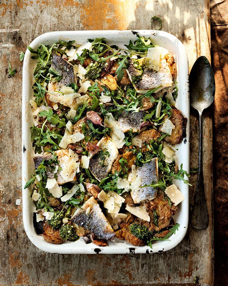 Roast sea bass and potato traybake