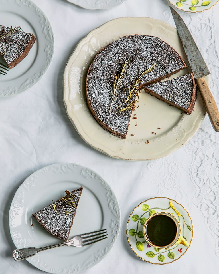 Flourless chocolate, chestnut & rosemary cake