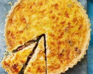 Quiche lorraine cut into slices to illustrate a collection of recipes
