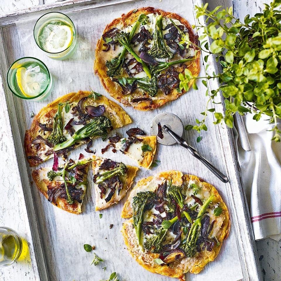Socca pizzas with taleggio and broccoli