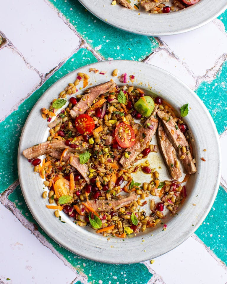 Pomegranate lamb salad