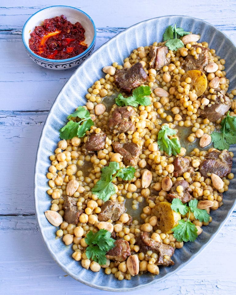 Moroccan lamb stew with giant couscous