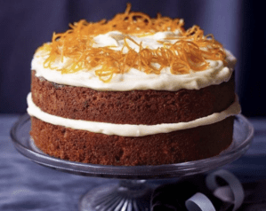 Paul Hollywood's carrot cake - on a cake stand