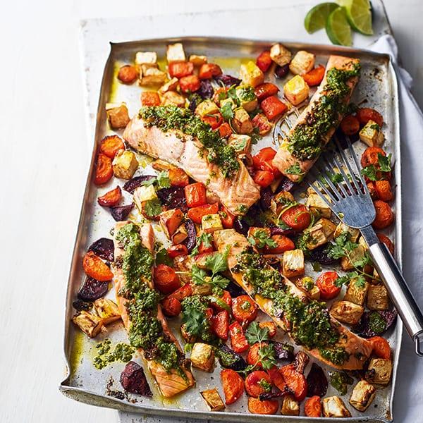 Salmon coriander tray bake