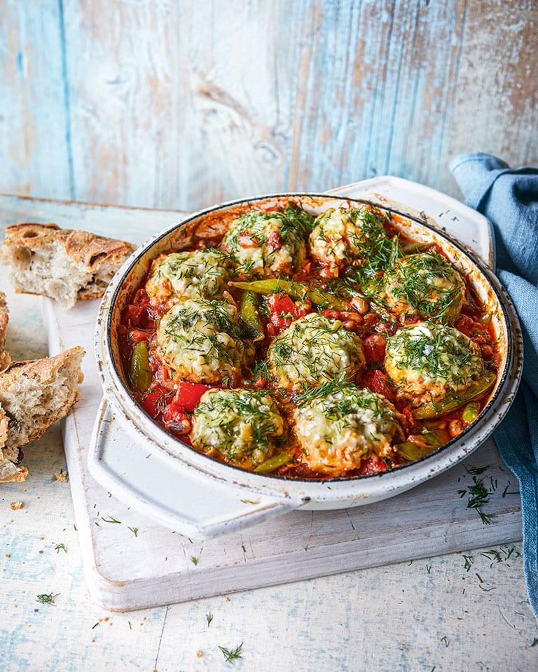 Greek-style casserole with courgette dumplings
