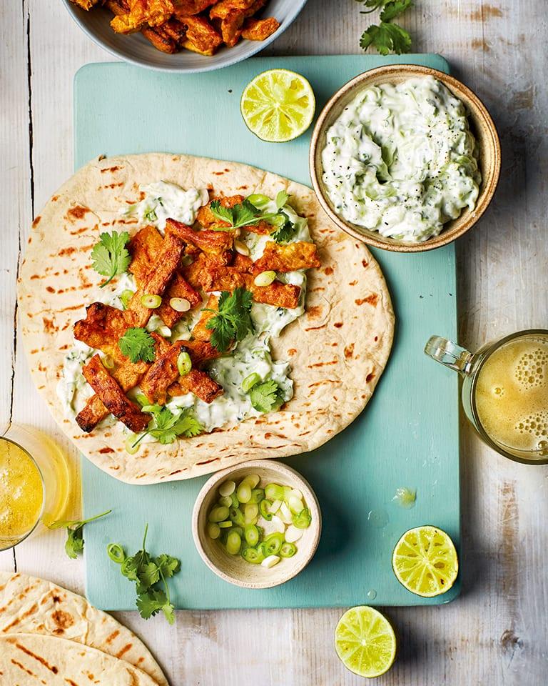 Quick tandoori vegan kebabs