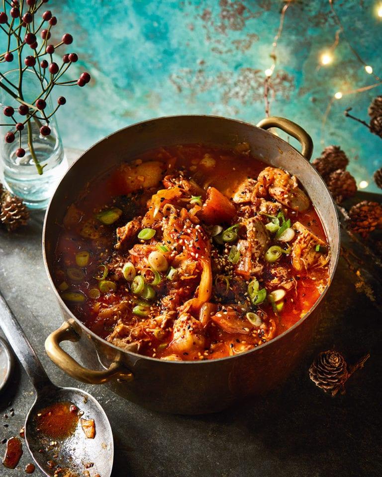 Chicken and kimchee stew