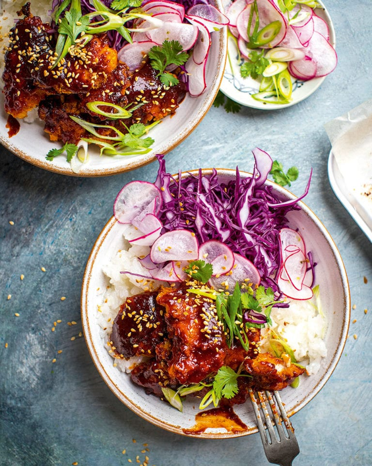Charred chicken ramen bowls