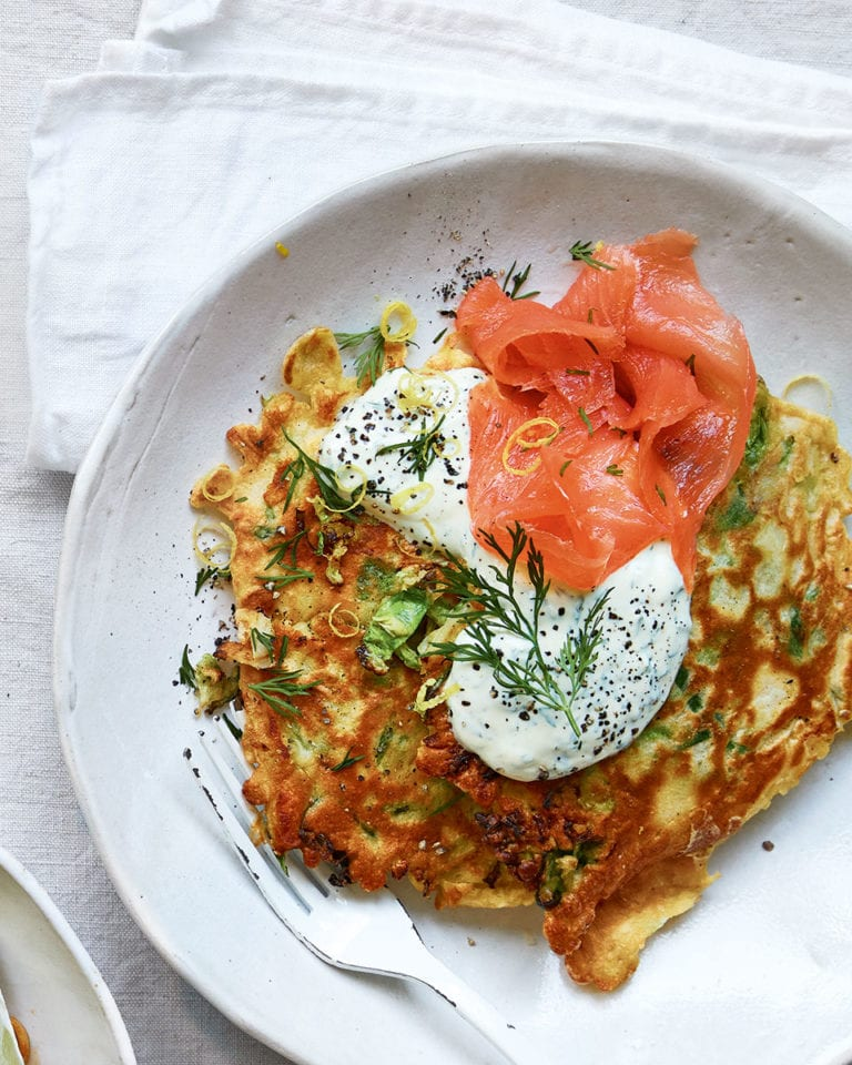 Brussels sprouts pancakes with smoked salmon
