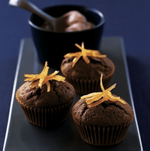 Chocolate orange cupcakes on a plate