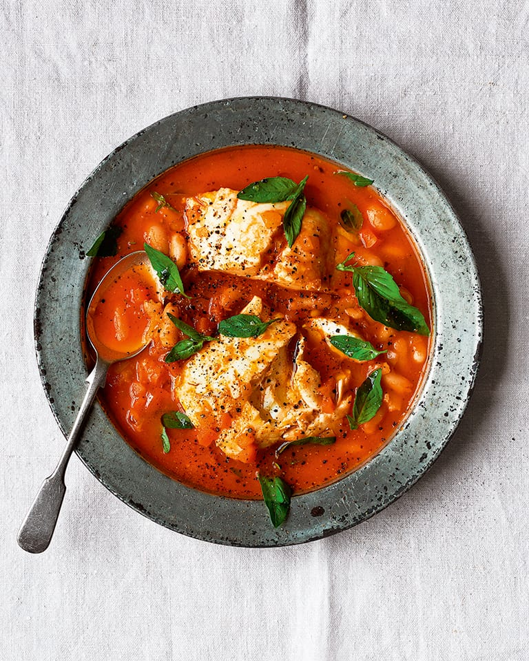 One-pan tomato fish chowder