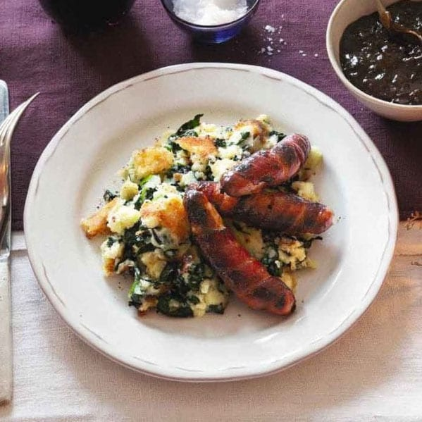 Pigs in blankets with bubble and squeak